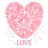 Beautiful Valentine's day heart with ethnic feathers Stock Image
