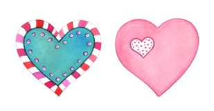 Hand painted hearts isolated on white background. Beautiful Valentine`s day love elements isolated on white background. Hand painted hearts illustrations Royalty Free Stock Image