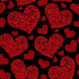 Beautiful Valentine`s day vector seamless pattern with scarlet hearts royalty free stock photo