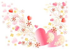 Beautiful valentine vector card and frame Stock Photo