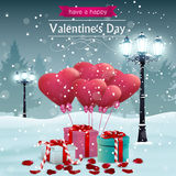 Beautiful Valentines day card width street lights heart shape balloons Royalty Free Stock Photos