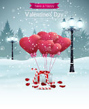 Beautiful Valentines day card width street lights heart shape balloons rose petals candy Royalty Free Stock Photos
