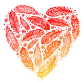 Beautiful Valentines day feather heart Royalty Free Stock Photography