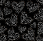 Beautiful Valentines vector seamless pattern with figured ornamental hearts Royalty Free Stock Photos