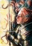 Beautiful Valkyrie admires her sword. Painted watercolor Stock Photography