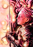 Beautiful Valkyrie admires her sword. Painted watercolor Stock Photos