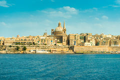 Beautiful Valletta achitecture, view from the sea Stock Images