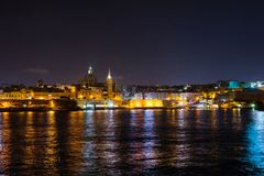 Valletta at night. View from Sliema. Malta. Beautiful Valletta at night. View from Sliema. Malta island Royalty Free Stock Images