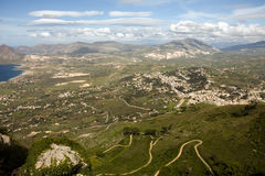 Beautiful valley. Aerial view of beautiful green valley, Erice town, Sicily, Italy Royalty Free Stock Photos