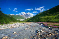 Beautiful valley in Caucasus mountains in Upper Svaneti, Georgia Stock Photography
