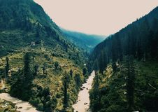 A Beautiful valley. Cutted by do row of water Royalty Free Stock Photography