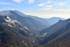 Beautiful valley between the mountains of the trekking in Carrara, Italy. stock photo