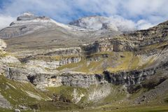 Beautiful valley Ordesa in Aragon Spain. Ordesa Valley is a glacial valley in Aragon, in the Spanish Pyrenees which forms part of the Ordesa y Monte Perdido Stock Photography