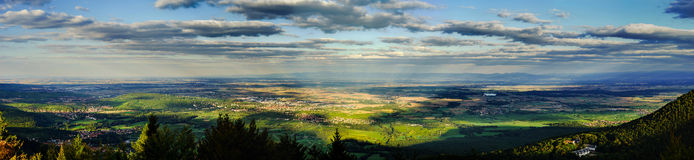 Beautiful valley panoramic view from top of the hill Royalty Free Stock Photography