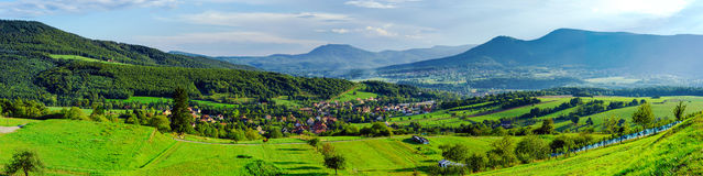 Beautiful valley panoramic view from top of the hill Stock Photography