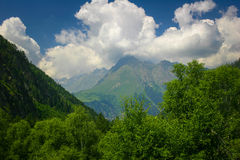 Beautiful valley and peaks in Caucasus mountains Royalty Free Stock Image