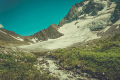 Beautiful valley and peaks in Caucasus mountains. Royalty Free Stock Images