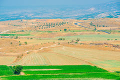 Beautiful valley plowed fields Royalty Free Stock Images