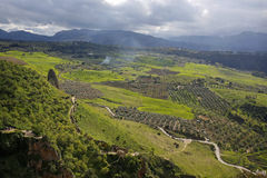 Beautiful valley seen from Puente Nuevo, Ronda, Andalusia, Spain Royalty Free Stock Images
