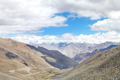 Beautiful valley and snowcapped Karakoram Mountains observed from Khardung La, HDR Stock Photography