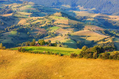 Beautiful valley in Transylvania with pastures and fields Stock Photos