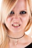 Beautiful vampire aggressive. Portrait of a beautiful vampire aggressive Royalty Free Stock Photography