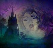 Beautiful vampire girl on halloween background Stock Photo