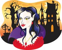 Beautiful vampire on halloween background Stock Photography
