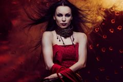 Beautiful vampire woman Royalty Free Stock Image