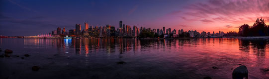 Beautiful Vancouver Skyline And Harbor With Idyllic Sunset Glow, BC, Canada Royalty Free Stock Photos