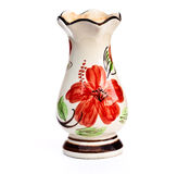 The beautiful vase. The vase of painted flower on white background Royalty Free Stock Photo