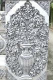 The beautiful vase of flower silver relief at the silver temple Royalty Free Stock Photography