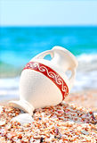 Beautiful vase on the seashore against blue sky Royalty Free Stock Image