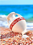 Beautiful vase on the seashore against blue sky Royalty Free Stock Photography