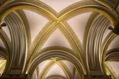 Beautiful vault with gilded ribs Royalty Free Stock Photography