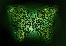 Shiny green butterfly. Beautiful vector art with shiny green butterfly on dark background stock illustration