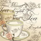 Beautiful vector background with cup of tea and roses in vintage Stock Photos