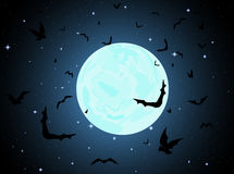 Beautiful vector background with full moon, stars and flying bats Royalty Free Stock Photography