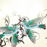 Beautiful vector background with humming birds in watercolor sty Royalty Free Stock Image