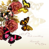 Beautiful vector background with roses and butterflies for roman. Tic events design Royalty Free Stock Photography