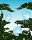 Beautiful vector background with snow covered fir-tree branch and three glass Christmas balls. Happy New Year vector background Royalty Free Stock Images