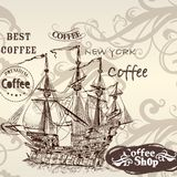 Beautiful vector background in vintage style with detailed ship Stock Photo
