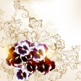 Beautiful vector background in vintage style with violets flower Royalty Free Stock Photography