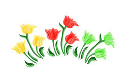 Beautiful vector border with flowers. Set of tulips. Royalty Free Stock Image