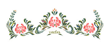 Beautiful vector border with flowers in vintage style. Stock Photo