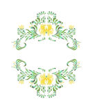 Beautiful vector border with yellow flowers in vintage style Stock Photography