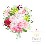 Beautiful vector bouquet with peony, rose, carnation, hydrangea, orchid, green plants on white vector design set. Royalty Free Stock Photos
