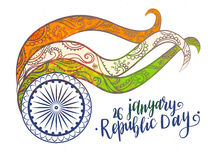 Beautiful vector card. Inscription Happy Indian Republic day concept with text 26 January lettering. Vector illustration. Calligraphy for the print typography Stock Image