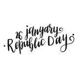 Beautiful vector card. Inscription Happy Indian Republic day concept with text 26 January lettering. Vector illustration. Calligraphy for the print typography Royalty Free Stock Photography