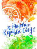 Beautiful vector card. Inscription Happy Indian Republic day concept with text 26 January lettering watercolor. Vector illustration. Calligraphy for the print Royalty Free Stock Images